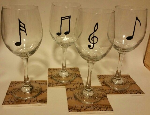 Music notes with matching coasters