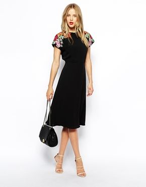Enlarge ASOS Midi Skater Dress with Embroidered Shoulder Detail $113 for Beth! Would require super high heals tho