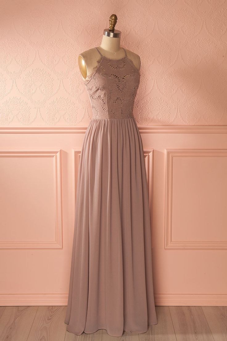 Halley Moon - Grey maxi bridesmaid dress