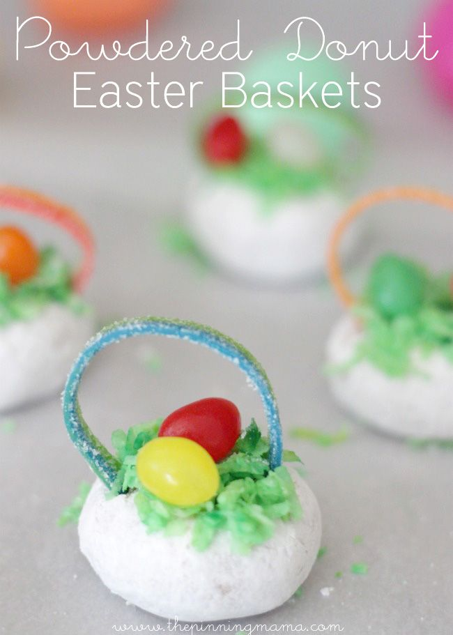 Powdered Donut Easter Basket Treats - click for easy tutorial: Easter Donuts, Recipes, Easter Fun, Bunnylicious Easter, Donut Easter, Powdered Donut, Easter Baskets, Donut Baskets, Birthday Party