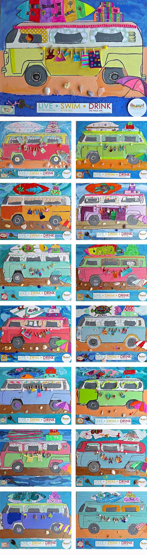 Camper Vans On Canvas