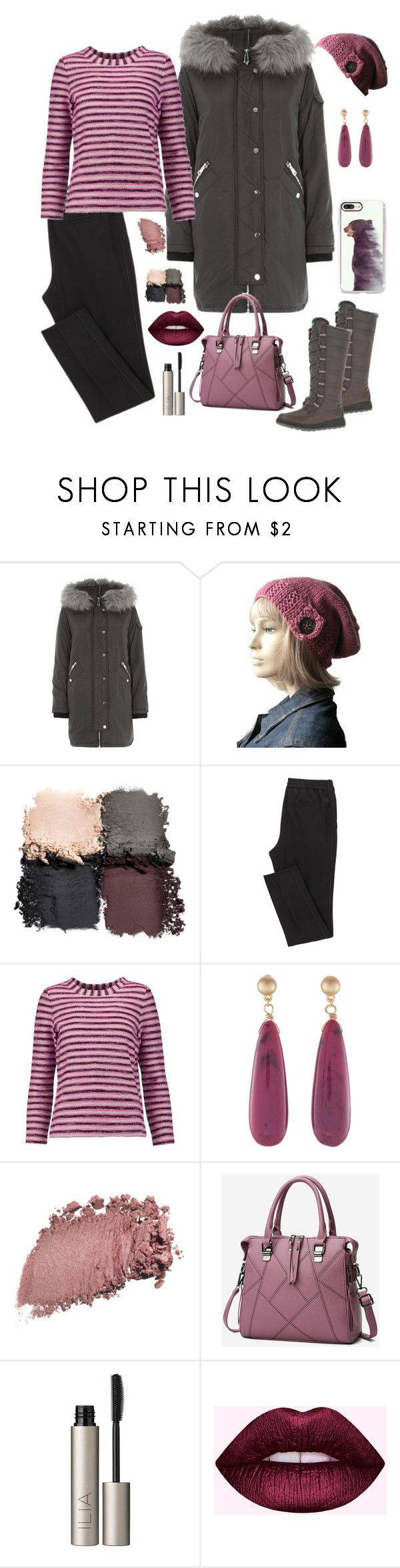 """""""Grey Parka #2"""" by knitsbynat ❤ liked on Polyvore featuring River Island, Tory Burch, WithChic, Ilia and Casetify"""