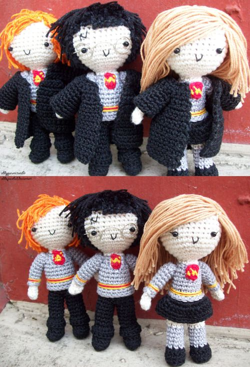 Harry Potter Dolls!I wish I could crochet or whatever it's called. These are so wizarding adorable!