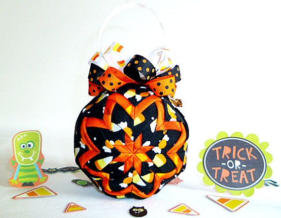 halloween quilted ornament candy corn sale ready to ship - Halloween Christmas Ornaments