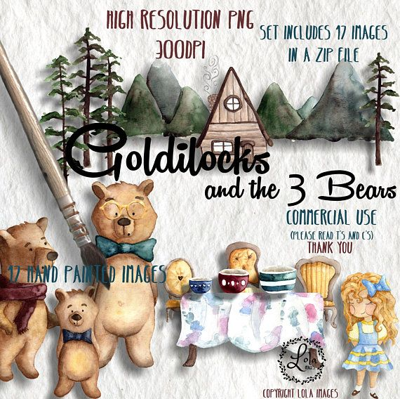 Goldilocks and the 3 Bears Clipart | Fairy Tale Forest Bear Girl Woods | Hand Painted Watercolor | Personal & Commercial Use | PNG Images