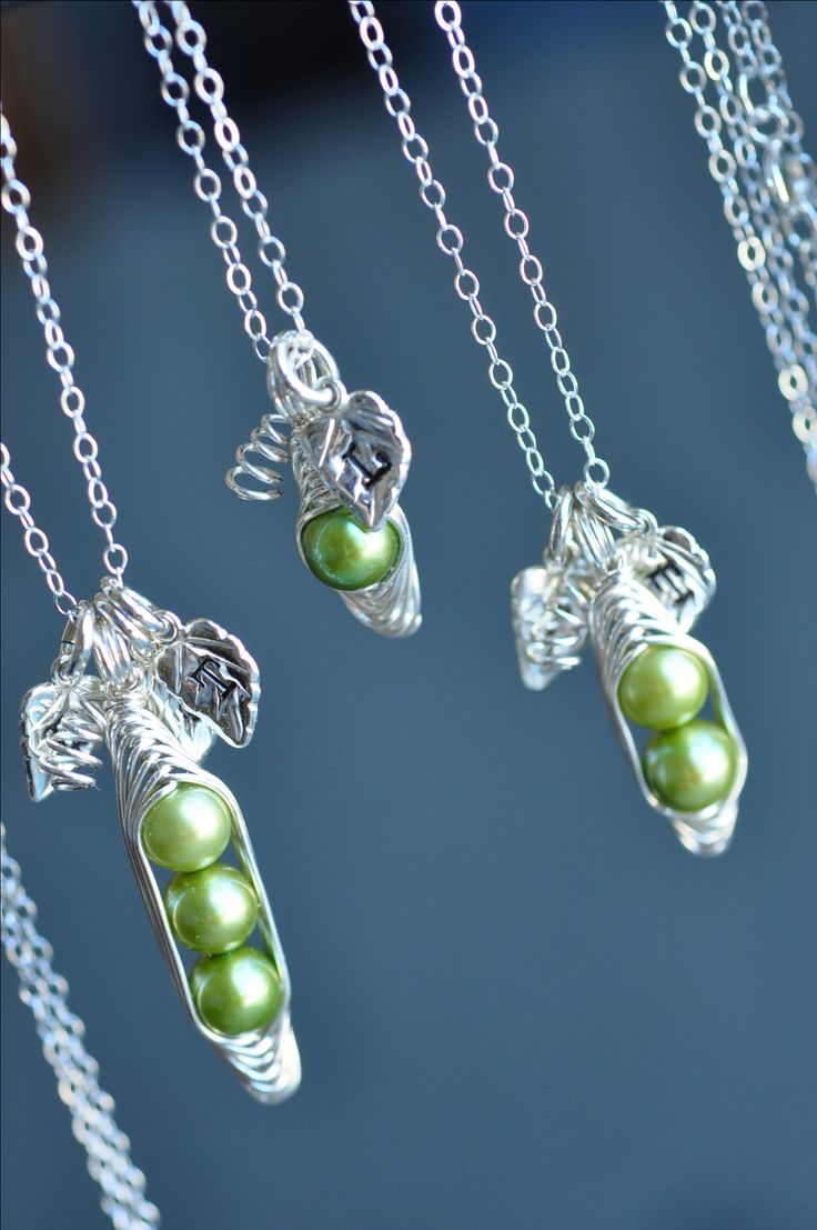 One pea, two peas, three peas.... Peas in a pod necklaces with stamped initial…