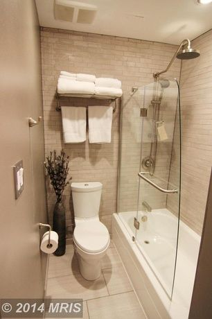 Contemporary Full Bathroom With Specialty Tile Floors 3 Quot X 6 Quot Baja Cream Travertine Subway Tile
