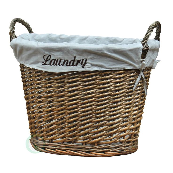 """17.5W x 14.3""""D x 13""""H Wicker Laundry Basket with White Liner, Browns/Tans"""