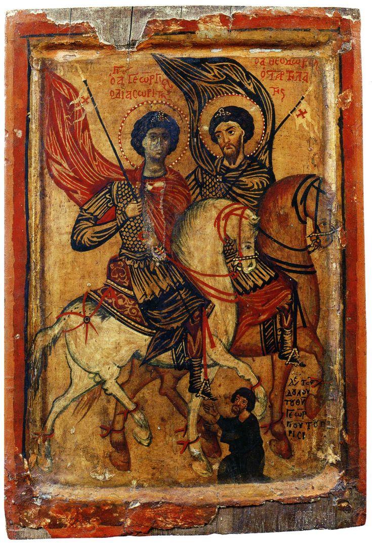 Георгий Диасорит и Феодор Стратилат на конях Ок. 1260-х гг. 32.5 × 22.2 см. Монастырь cв. Екатерины, Синай, Египет