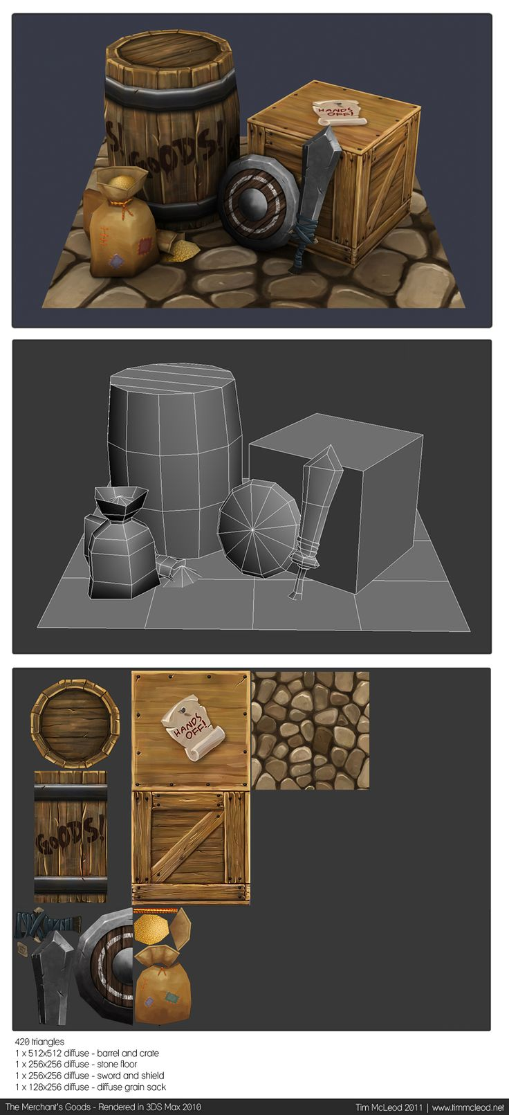 Low poly and texture props