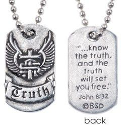 Handcrafted Fine Pewter Scripture Verse Necklace | Truth Dog Tag | John 8:32