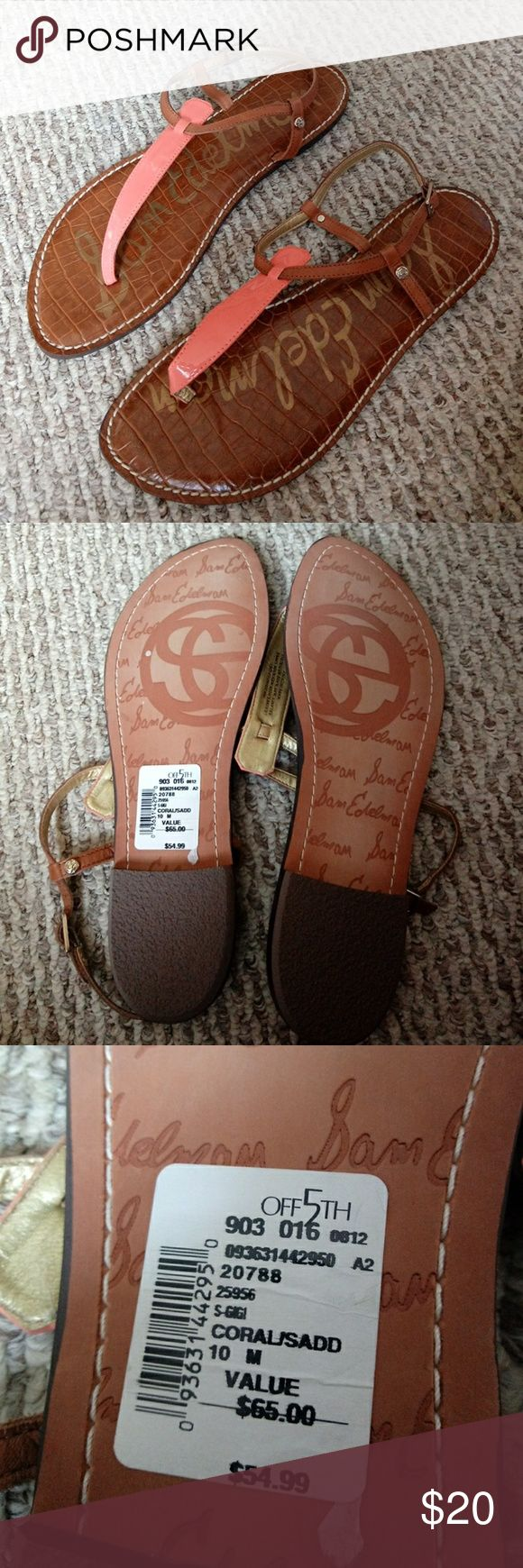 NWT Sam Edelman gigi thong sandals coral New Sam Edelman gigi sandals with leather upper Size 10 bought from Saks off 5th Sam Edelman Shoes Sandals