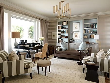 love dual-purpose rooms (this office/guest room); different scale stripes on walls, chairs & bolster pillows; solid chaise; built-in shelves; desk at window for a view   --  Office | Sarah Richardson Design