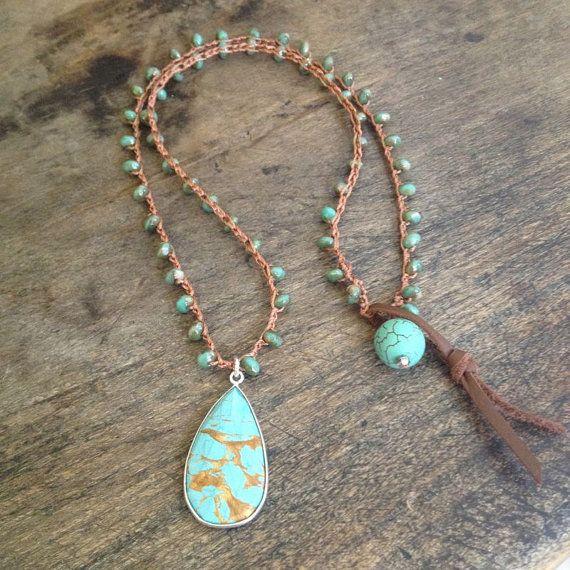 "Turquoise Sterling Silver Vermeil Pendant Crochet Necklace ""Beach Chic"" $50.00"