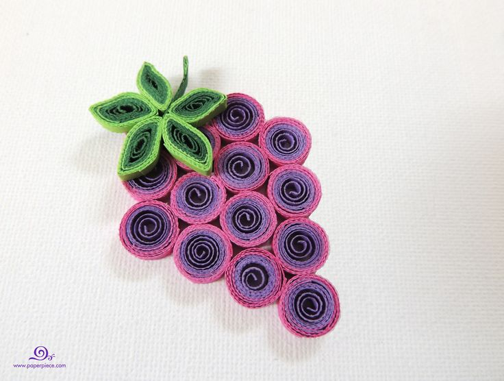 Quilling grape quilled fruits by paper piece quilling for Paper quilling work