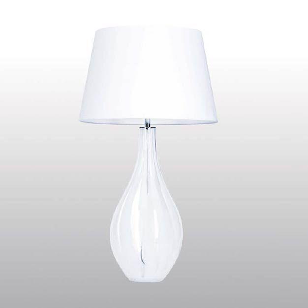 MODENA abajur cod. b111801 Em vidro bicolor branco e transparente com cúpula em tecido branco