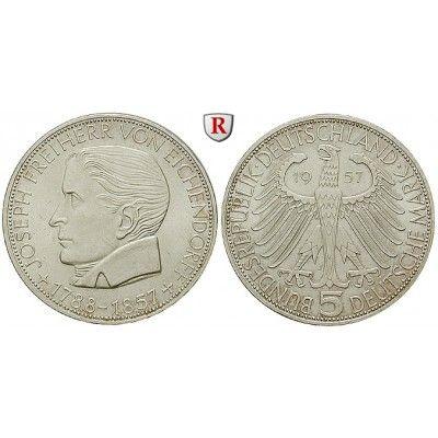 Bundesrepublik Deutschland, 5 DM 1957, Eichendorff, J, vz, J. 391: 5 DM 29 mm 1957 J. Eichendorff. J. 391; vorzüglich 355,00€ #coins
