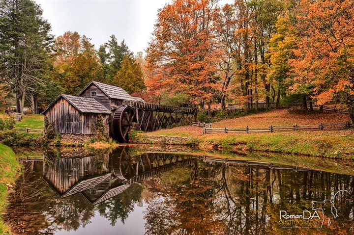 #MabryMill #BlueRidge #mill #autumn #fall #leaves #water #reflection #mill  Who will give this a like? love? WOW? Share??  I know you want to!  Well I'm only missing the mill coved in snow now.  Who will drive me up when it snows???  Love this mill the reflection the colors of fall leaves the beauty of it all. The wheel was being moved by the water left over from Hurricane Matthew.  Thanks! David ________________________________________ Follow me on Instagram/Twitter:@RomanDAPhoto All photos…