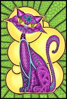 Krazy Kitty...Zentangle inspired. Created using a stencil by L. Harlow of Dreamweaver Stencils.