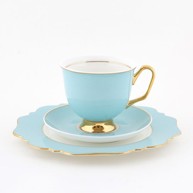 Pale #Blue #375mL #XL #Teacup and #Saucer #Set with #Pale Blue #Sideplate | The bigger teacup you've always wanted! Get yours today at #lyndalt.com