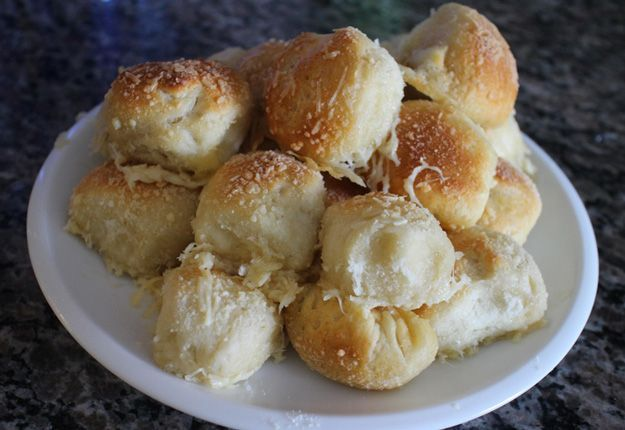 Garlic Parmesan Bread Bites | Easy and Simple Snack Recipe For The Family by Homemade Recipes at http://homemaderecipes.com/garlic-parmesan-bread-bites/
