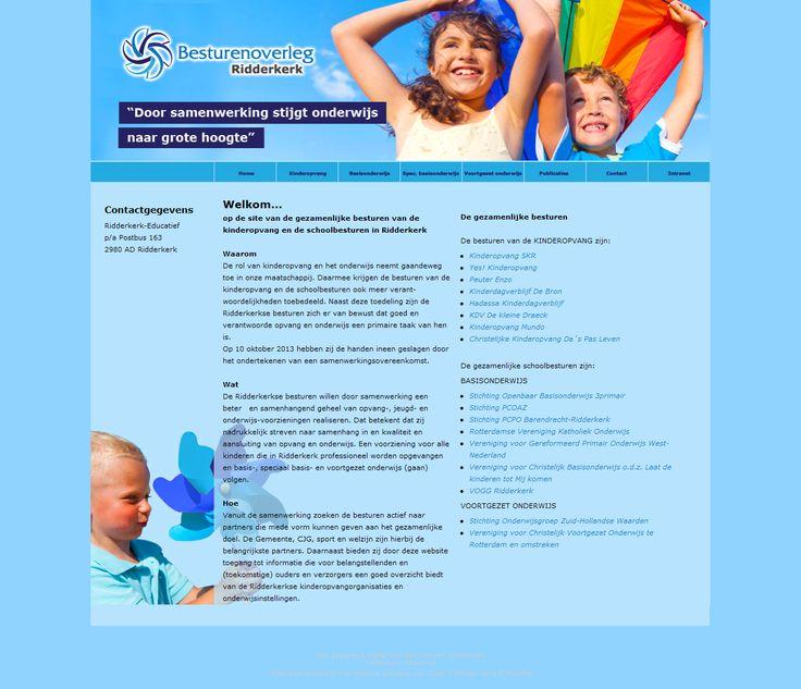 Ridderkerkse besturen De gezamenlijke schoolbesturen van Ridderkerk onderhouden een eigen website. Het kan gezien worden als een portal naar het onderwijs in Zwijndrecht. Ook zijn hier de kinderopvangorganisaties vertegenwoordigd.