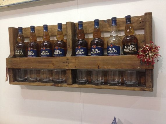 Whiskey bottle rack with glass rack 100cm by Palletfurnitureuk