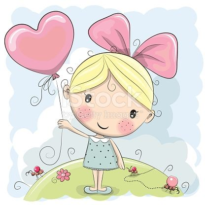 Cute Cartoon Girl with a balloon on the meadow