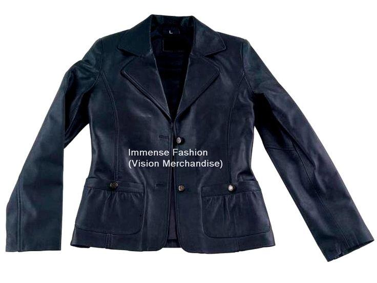 NWT Women's 2 Button Leather Blazer Coat Style FS-126