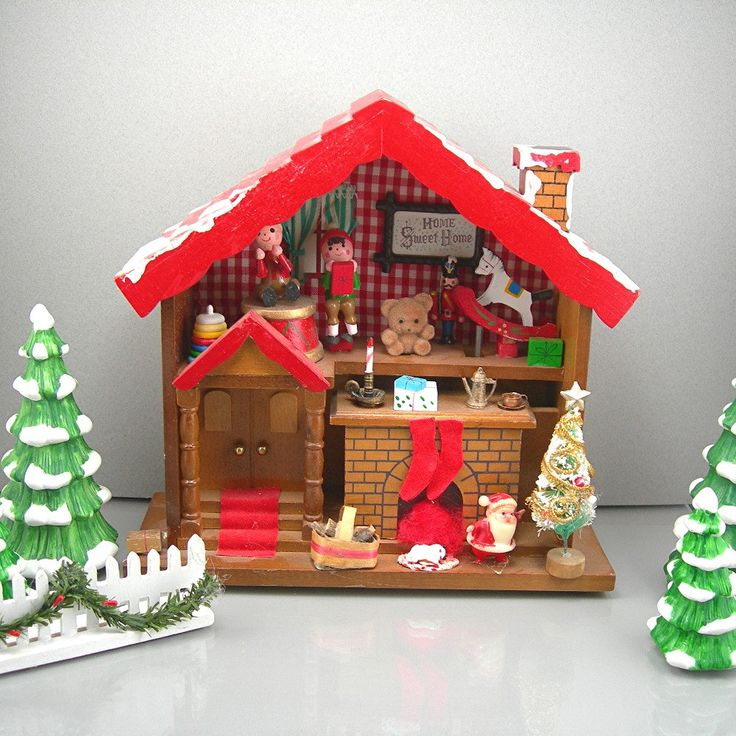 Vintage christmas music box enesco 8 1 2 wood house 1983 for Vintage house music