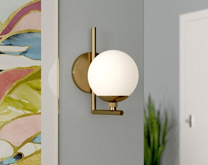Adjustable Wall Lamp White Shade Wall Sconce Mid Century Etsy Adjustable Wall Lamp Wall Lamp Sconces