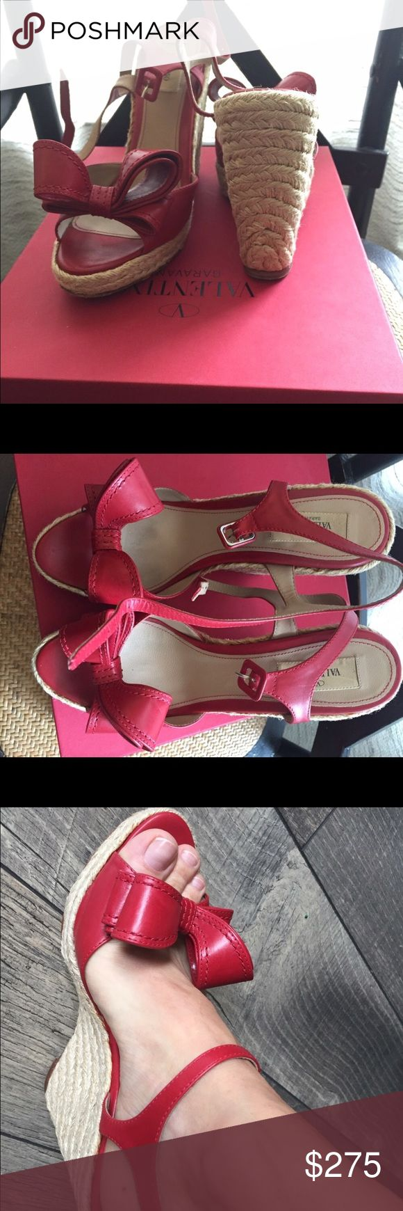 Valentino Wedges Gently worn beautiful red Valentino Sandals. Retailed for $495 worn 4 times. In almost new condition. Feel free to make me a reasonable offer. Valentino Shoes Wedges