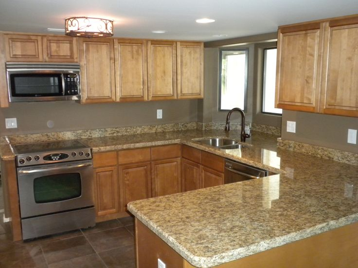 Pin by Suzanne Gwinn on My Remodels | Maple kitchen ... on Gray Countertops With Maple Cabinets  id=59605