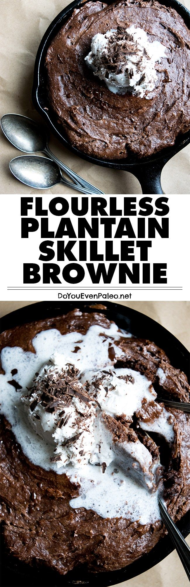 A decadent treat with just a handful of ingredients! This flourless plantain skillet brownie is paleo, vegan, gluten free and nut free.   DoYouEvenPaleo.net