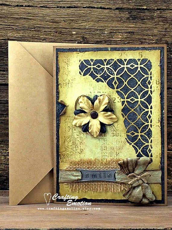 Handmade Rustic Greeting Card Smile by Crafting Emotion $13.75AUD