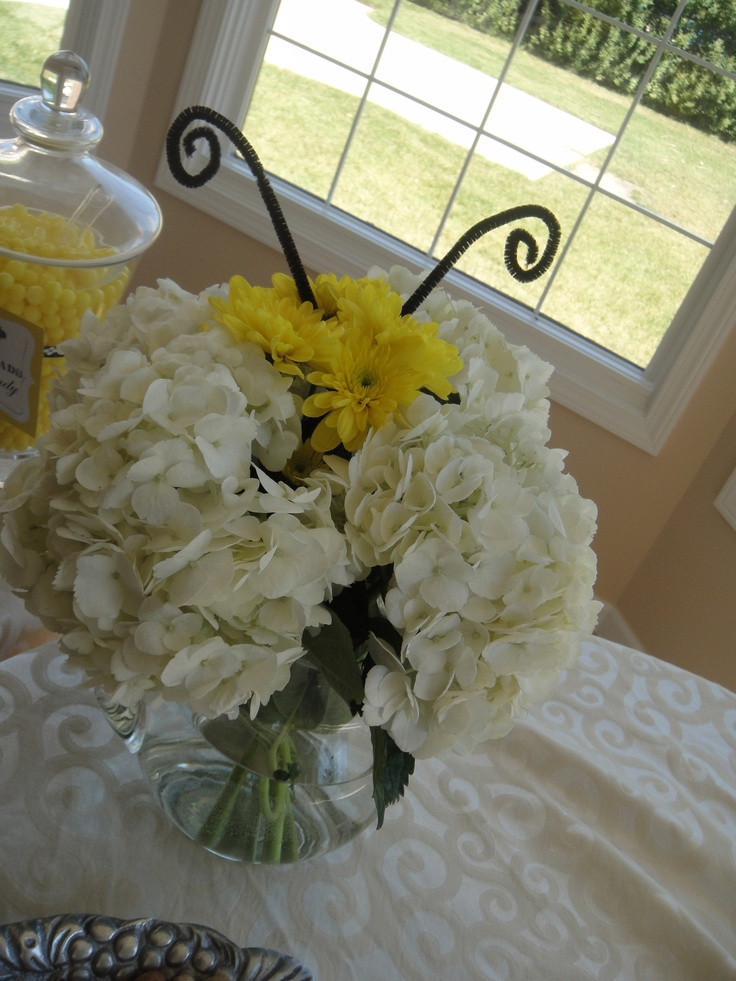 bee themed baby shower flower arrangement more themed baby showers