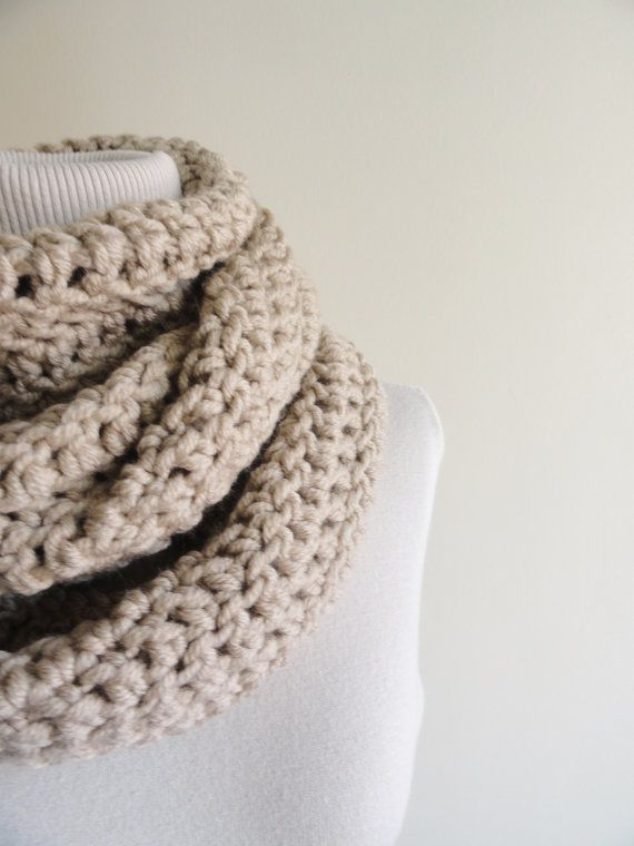 Extra Large Chunky Infinity Scarf Loop Circle Thick Knit Scarf Unisex Beige