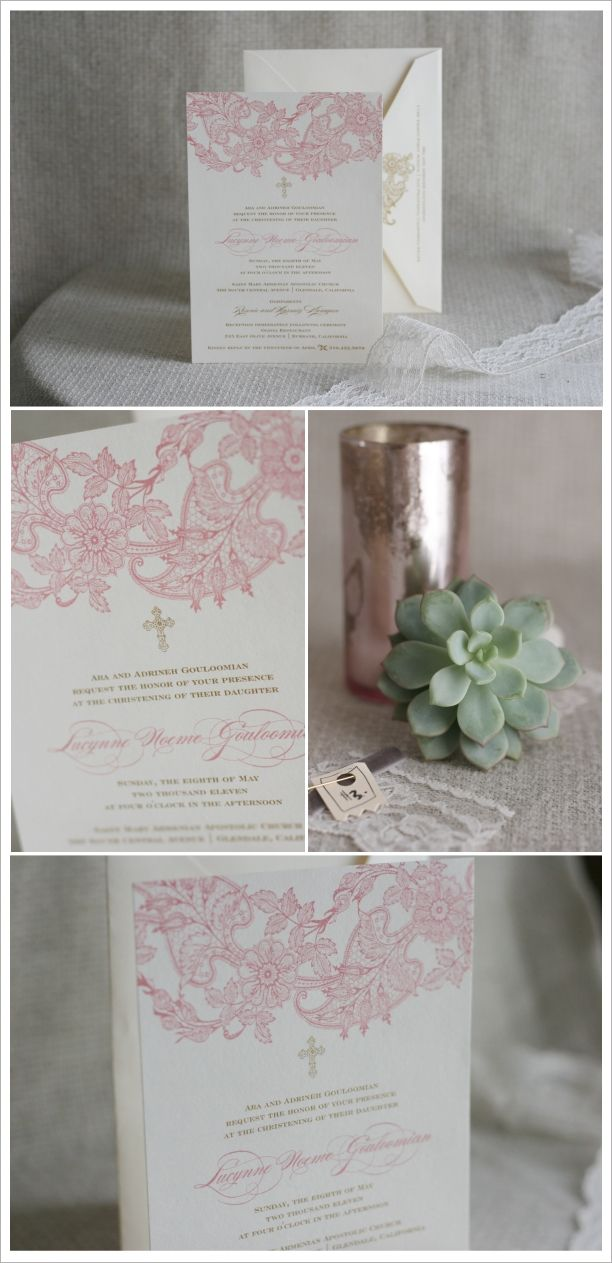 Lace isn't just for weddings anymore!  These are elegant invitations for Baptism/Christening.  #Lace