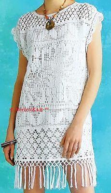 Летняя винтажность - платье-туника, топ и накидка
