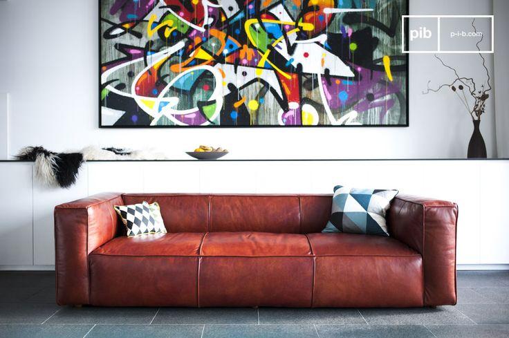 Un sofá vintage enteramente cubierto por cuero suave, el sofá Krieger tiene un aire resolutamente vintage sobrio y muy elegante. La estética única de este sofá de diseño escandinavo viene de su aspecto gráfico con costuras que marcan los tercios del sofá en su respaldo y asiento.