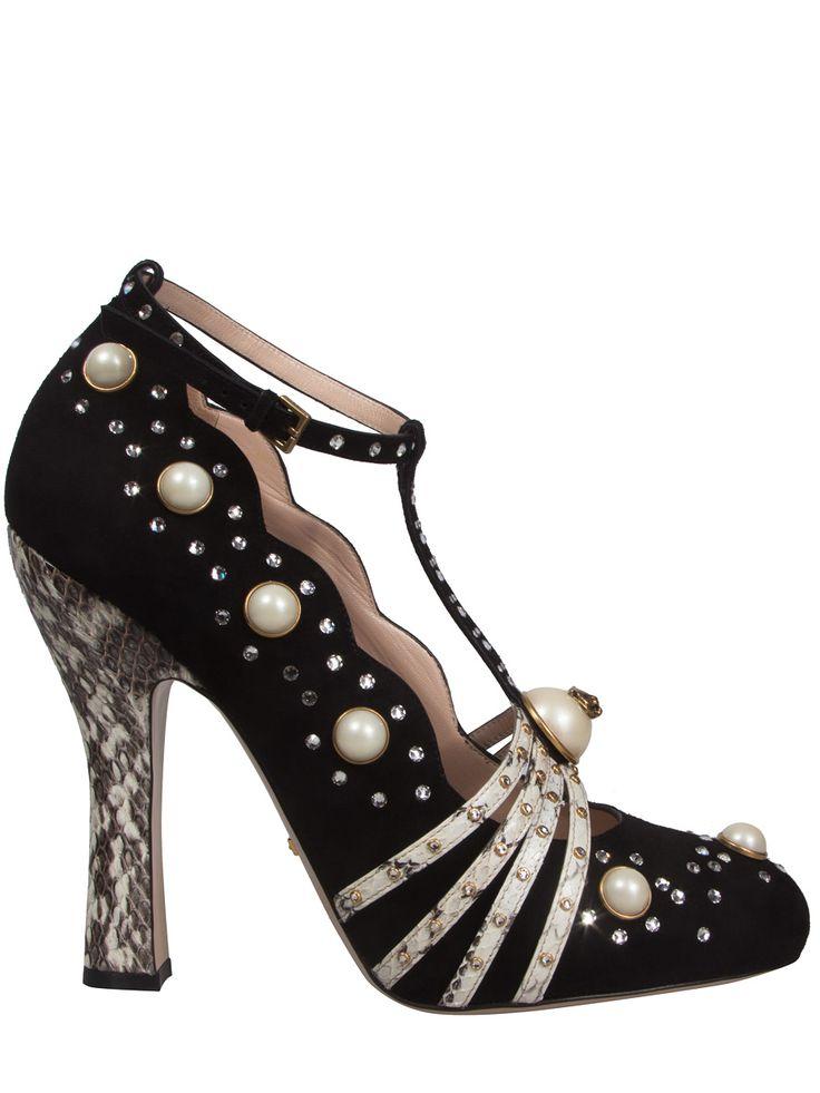 Замшевые туфли с декором от GUCCI