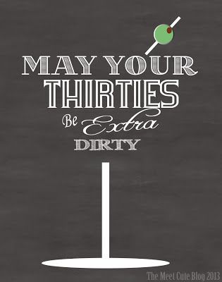 Cute Dirty 30 Card! May Your Thirties be Extra Dirty!  FREE Printable quarter fold card!
