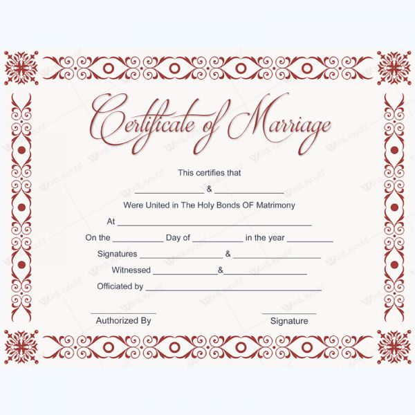 Formal Marriage Certificate Template #marriagecard #marriage - certificate template blank