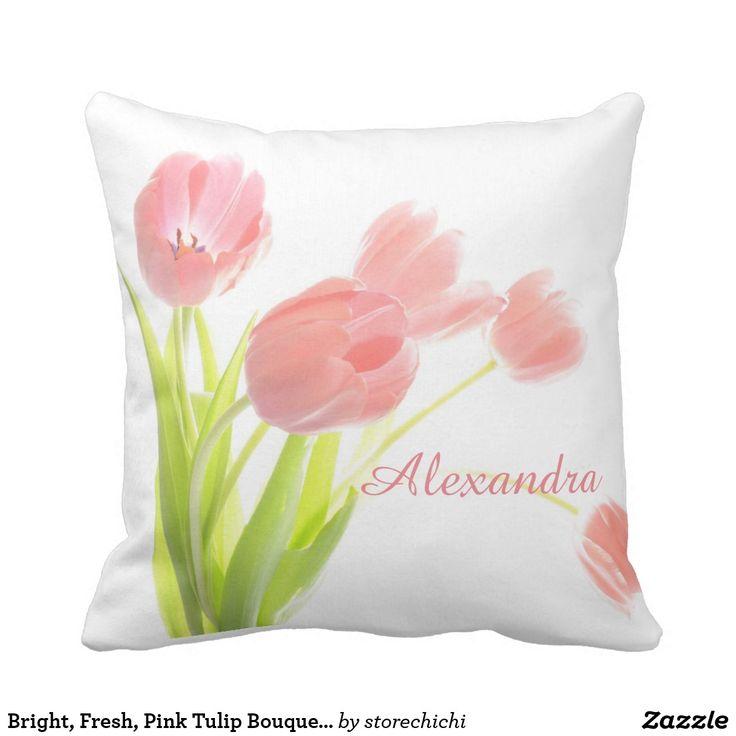 Bright, Fresh, Pink Tulip Bouquet on white name Throw Pillow