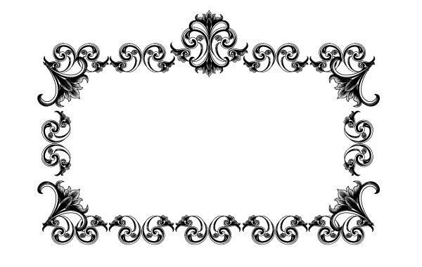 Victorian Style Frame Artwork Background Black Border Decor