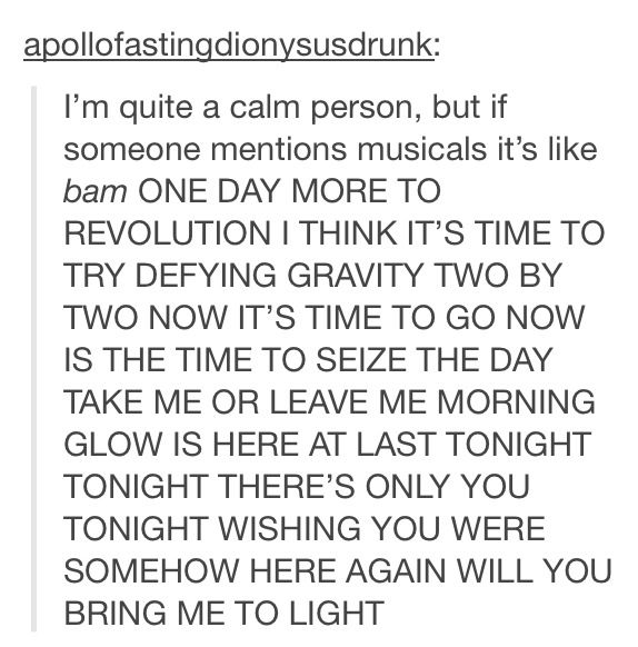 Accurate on so many levels. Especially when you sing each separate song lyric