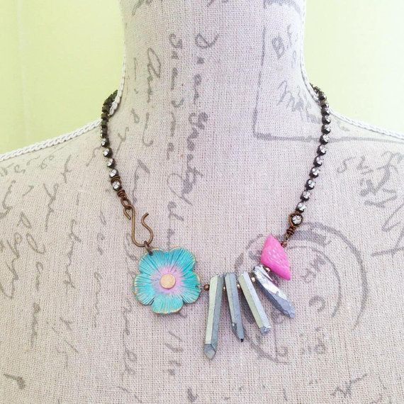 Pink turquoise bird spiky necklace flower gemstome necklace, ceramic necklace, short necklace statement necklace, gift for her, uk shop