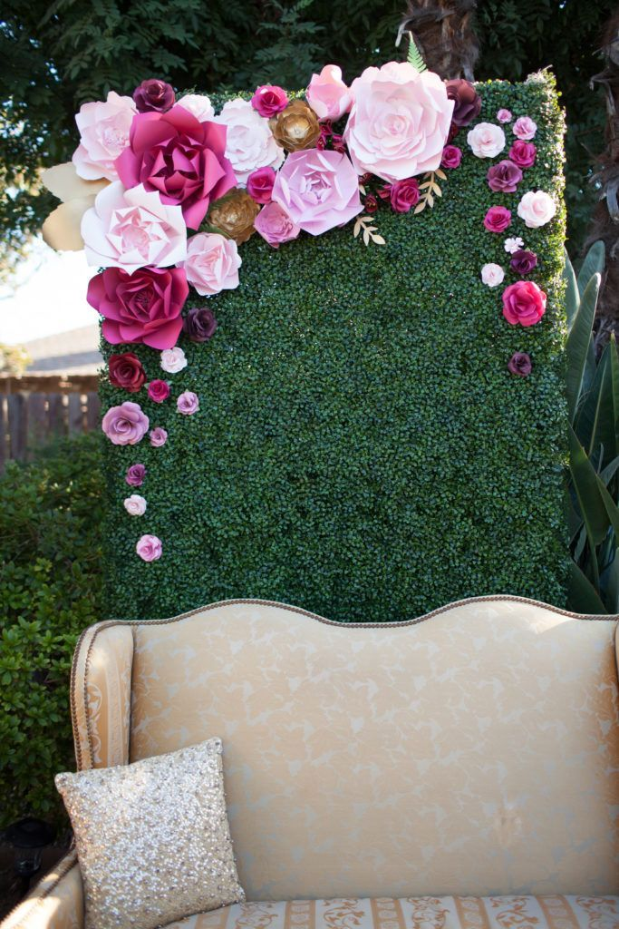 Paper Flower back drop by PaperFlora. photo booth backdrop, pink paper flowers, pink and gold wedding