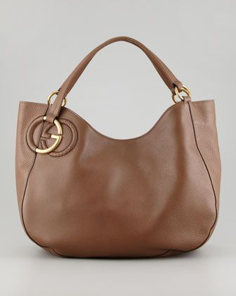 Twill Leather Large Shoulder Bag 60