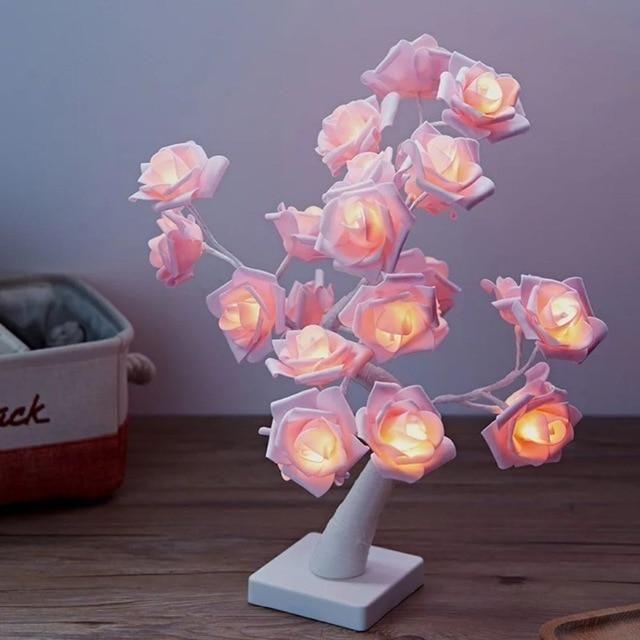 LED Table Lamp Rose Flower USB Night Light Bedside For CHRISTMAS Home Decor Desk
